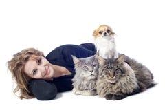 Kobieta i zwierzęta domowe zdjęcie royalty free