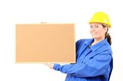 Kobieta inżyniera korka deska w ręce Fotografia Stock