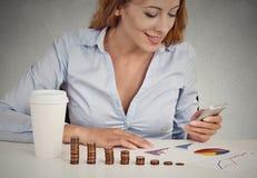 Kobieta inwestorski konsultant analizuje firmy sprawozdanie roczne Obraz Stock
