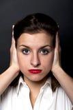 Kobieta jak no może nie słuchający Obrazy Stock