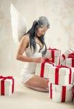 Kobieta jako anioł indoors Obraz Royalty Free