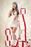 Kobieta jako anioł indoors Zdjęcie Stock