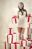 Kobieta jako anioł indoors Fotografia Stock