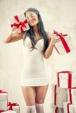 Kobieta jako anioł indoors Zdjęcia Royalty Free