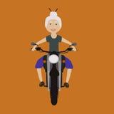 Kobieta jeździecki motocykl Obrazy Royalty Free