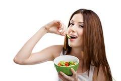 Kobieta je zdrowej sałatki Fotografia Stock