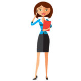 kobieta jednostek gospodarczych Śliczna carroty młoda dziewczyna szczęśliwa na telefonie wektor Zdjęcie Royalty Free