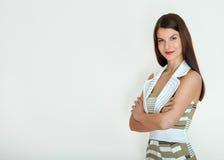 kobieta jednostek gospodarczych Odizolowywający nad białym tłem obraz royalty free