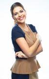 kobieta jednostek gospodarczych Uśmiech odizolowywający Fotografia Royalty Free