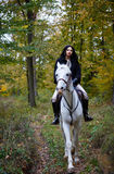 Kobieta jedzie konia w lesie Zdjęcie Royalty Free