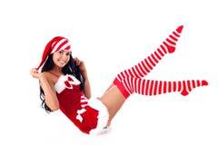 kobieta jego nogi podnoszę Santa siedzi podnosić Obraz Royalty Free