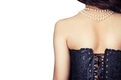 Kobieta jest ubranym czarnego gorsecika zdjęcie royalty free