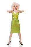 Kobieta jest ubranym kędzierzawą uczciwą perukę odizolowywającą na bielu Obraz Stock