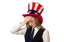 Kobieta jest ubranym kapelusz z amerykańskimi symbolami Obrazy Royalty Free