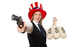 Kobieta jest ubranym kapelusz z amerykańskimi symbolami Zdjęcia Stock
