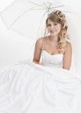 Kobieta jest ubranym luksusową ślubną suknię fotografia royalty free