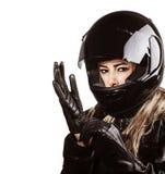 Kobieta jest ubranym motorsport strój obrazy stock