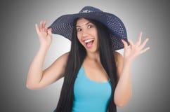 Kobieta jest ubranym Panama przygotowywającego Zdjęcie Stock