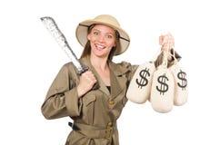 Kobieta jest ubranym safari kapelusz na bielu Zdjęcie Royalty Free