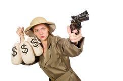 Kobieta jest ubranym safari kapelusz na bielu Zdjęcia Stock