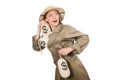 Kobieta jest ubranym safari kapelusz na bielu Fotografia Stock