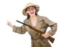 Kobieta jest ubranym safari kapelusz na bielu Zdjęcie Stock