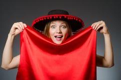 Kobieta jest ubranym sombrero kapelusz Fotografia Stock