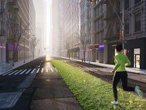 Kobieta jogging samotnie w ulicach miasto na zielonej gazon strzała świadczenia 3 d royalty ilustracja