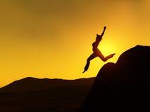 kobieta jumping Zdjęcia Royalty Free