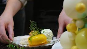 Kobieta kłaść kawałek tort na talerzu Kobieta stawia dalej półkowego tort zbiory wideo