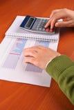 kobieta kalkulatorska jednostek gospodarczych Obrazy Stock