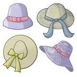Kobieta kapelusze royalty ilustracja