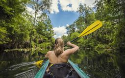 Kobieta Kayaking w dół piękna tropikalna dżungli rzeka Zdjęcia Stock