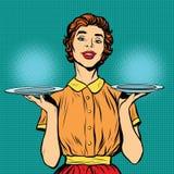 Kobieta kelner z dwa tacami ilustracja wektor