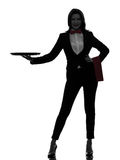Kobieta kelnera kamerdynerskiego mienia tacy pusta sylwetka Fotografia Stock