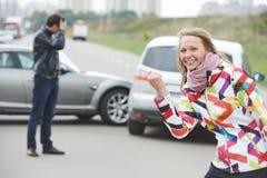 Kobieta kierowca. Winny fotografia stock