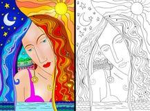 Kobieta kolorowy portret i kreskowa sztuka royalty ilustracja