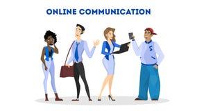 Kobieta komunikuje z przyjacielem przez og?lnospo?ecznej sieci ilustracja wektor