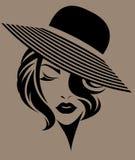 Kobieta krótki włosy z kapeluszem, logo kobiety stawia czoło na brown tle Zdjęcie Royalty Free