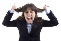 kobieta krzyczała jednostek gospodarczych Fotografia Royalty Free