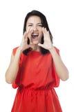 Kobieta krzyczy przed kamerą fotografia stock