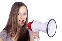 Kobieta krzyk w megafonie zdjęcie royalty free
