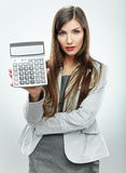 Kobieta księgowego portret Młoda biznesowa kobieta Biały backgroun Zdjęcie Royalty Free