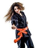 Kobieta Kung Fu Pencak Silat odizolowywał Obraz Royalty Free