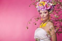 Kobieta kwiatu sztandaru reklamy szablon Fotografia Royalty Free