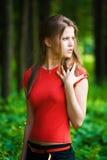 kobieta leśna niepokojąca Obrazy Royalty Free
