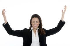 Kobieta lider, kierownik robi treningowi ręce do góry Obrazy Royalty Free