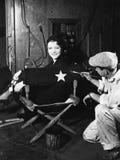 Kobieta ma imię malującego na plecy dyrektora krzesło (Wszystkie persons przedstawiający no są długiego utrzymania i żadny nieruc Zdjęcia Stock