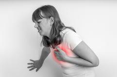 Kobieta ma klatka piersiowa ból, atak serca - czarny i biały Obraz Royalty Free