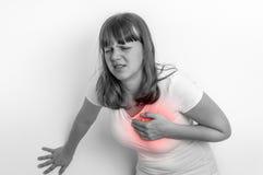 Kobieta ma klatka piersiowa ból, atak serca - czarny i biały Obraz Stock